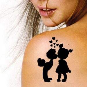 TR-1031 Beauty Love Stencil Tattoo Self adhesive Stencils Face Painting Design Decoration