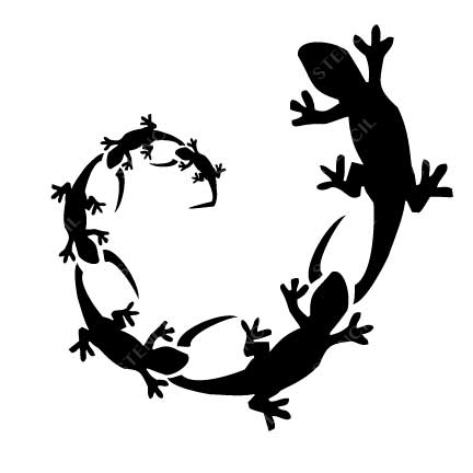 TR-2012 Lizard Family Stencil Tattoo Self adhesive Stencils Face Painting Design Decoration