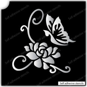 TR-4001 Flower Butterfly Stencil Tattoo Self adhesive Stencils Face Painting Design Decoration