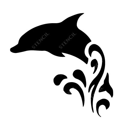 TR-6001 Stencil Tattoo Self adhesive Stencils Face Painting Design Decoration Dolphin