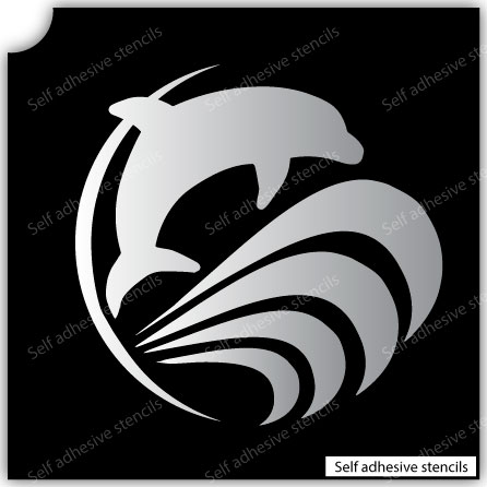 TR-6004 Stencil Tattoo Self adhesive Stencils Face Painting Design Decoration Dolphin