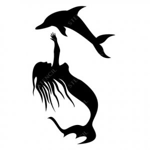 TR-6008 Stencil Tattoo Self adhesive Stencils Face Painting Design Decoration Dolphin