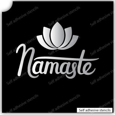 Namaste Flower Stencil Tattoo Stickers silhouette vinyl Yoga